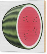 Water Melon Outlined Wood Print