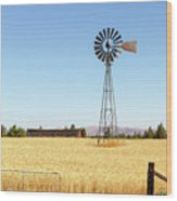 Water Pump Windmill At Wheat Farm In Rural Oregon Wood Print