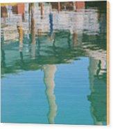 Water Reflections Of Morro Bay  Dock Wood Print