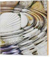 Water Ripples Above Sea Shells Wood Print