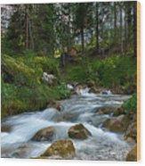 Water Rushing Down Wood Print