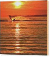 Water Skiing At Sunrise  Wood Print
