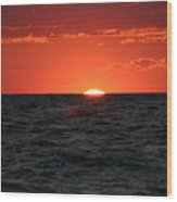 Water Sun Set Wood Print