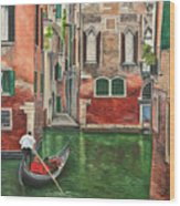 Water Taxi On Venice Side Canal Wood Print