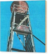 Water Tower Wood Print by Glenda Zuckerman