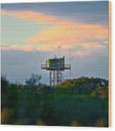 Water Tower In Orange Sunset Wood Print