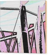 Water Tower In Pink Abstract Wood Print