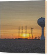 Water Tower Of Sunset Wood Print