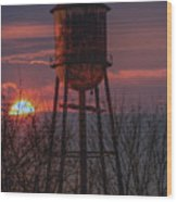 Water Tower Sunset Wood Print