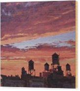 Water Towers At Sunset No. 4 Wood Print