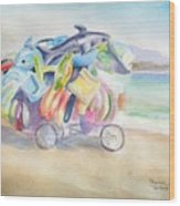 Water Toy Vendor On Teh Beaches Of Santiago Bay, Manzanillo Wood Print