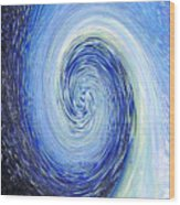 Water Twirl Blue Wood Print