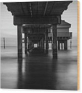 Water Under The Dock Wood Print