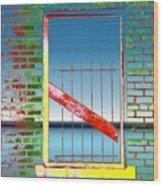 Water Window 2 Wood Print