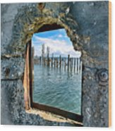 Water Window Wood Print