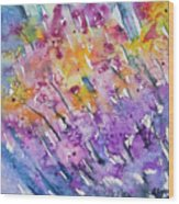 Watercolor - Abstract Flower Garden Wood Print