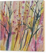 Watercolor - Autumn Forest Impression Wood Print