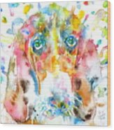 Watercolor Basset Hound Wood Print