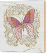 Watercolor Butterfly With Vintage Swirl Scroll Flourishes Wood Print