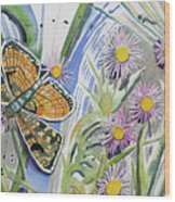 Watercolor - Checkerspot Butterfly With Wildflowers Wood Print