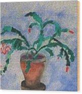 Watercolor Christmas Cactus First Bloom Wood Print