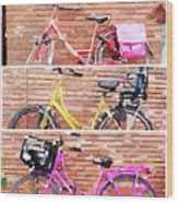 Watercolor Collage Of Three Bicycles In Triptych Wood Print