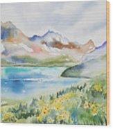 Watercolor - Colorado Alpine Landscape Wood Print