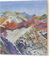 Watercolor - Colorado Elk Range View Wood Print