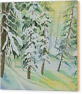 Watercolor - Colorado Winter Tranquility Wood Print