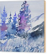 Watercolor - Colorado Winter Wonderland Wood Print