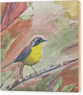 Watercolor - Common Yellowthroat Wood Print