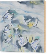 Watercolor - Crane Ballet Wood Print