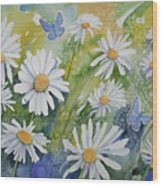 Watercolor - Daisies And Common Blue Butterflies Wood Print