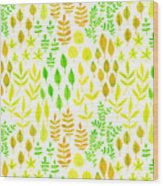 Watercolor Doodle Leaves Pattern White  Wood Print