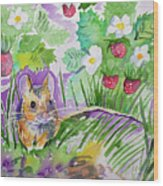 Watercolor - Field Mouse With Wild Strawberries Wood Print