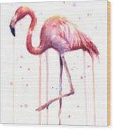 Watercolor Flamingo Wood Print