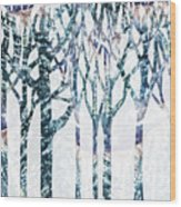Watercolor Forest Silhouette Winter Wood Print