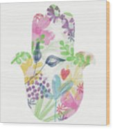 Watercolor Garden Hamsa- Art By Linda Woods Wood Print