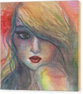 Watercolor Girl Portrait With Flower Wood Print