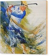 Watercolor  Golf Player Wood Print