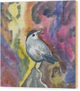 Watercolor - Gray Catbird Wood Print