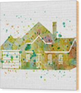 Watercolor House  Wood Print