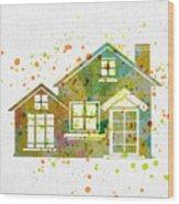 Watercolor Houses Wood Print