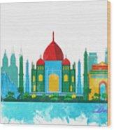 Watercolor Illustration Of Delhi Wood Print