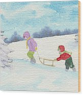 Watercolor Illustration Showing Two Children Pulling Sledge Uphi Wood Print