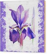 Watercolor Iris Painting Wood Print