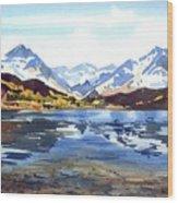 Watercolor Lake Reflection Wood Print