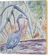 Watercolor - Little Blue Heron In Mangrove Forest Wood Print