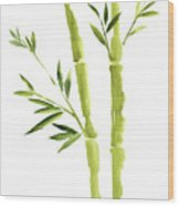 Bamboo Stick Wall Paper Art, Watercolor Living Room Decor Illustration, Green Bamboo Leaves Painting Wood Print