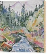 Watercolor - Long's Peak Autumn Landscape Wood Print